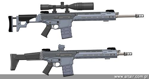 The Weapon Factory started construction of prototypes rifles MSBS-7.62 in the superb varieties (above, planned by Archer as the successor worn-SWD) and automatic (for rapid response units).  Fighting in the basic variant are to have the representatives of Torun course snipers (snipers school), which is to allow the placing on the target structure comments, arising from the experience of combat users of the Polish Army / Drawing: Weapons Factory